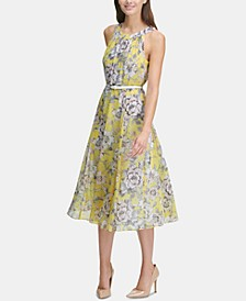 Printed Belted Halter Midi Dress