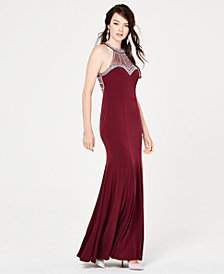 Say Yes to the Prom Juniors' Embellished Halter Gown, Created for Macy's
