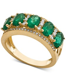 Emerald (1-1/2 ct. t.w.) & Diamond (1/3 ct. t.w.) Ring in 14k White Gold (Also in Sapphire, Certified Ruby & Tanzanite)