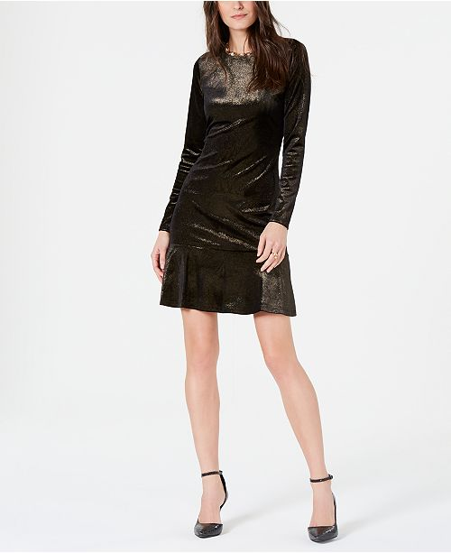 ce4598d47 Michael Kors Petite Metallic Velvet Dress   Reviews - Dresses ...