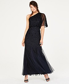 Sequined Blouson One-Shoulder Gown