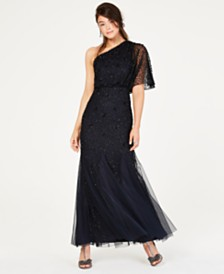 Adrianna Papell Sequined Blouson One-Shoulder Gown