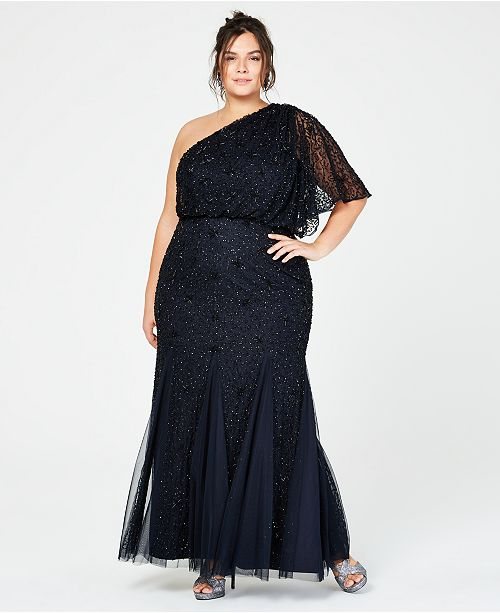 df67a0cbbdd Adrianna Papell Plus Size Beaded One-Shoulder Gown   Reviews ...