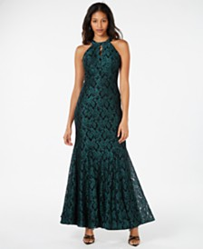 Nightway Petite Glitter-Lace Keyhole Gown