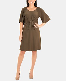 NY Collection Petite Tie-Front Fit & Flare Dress