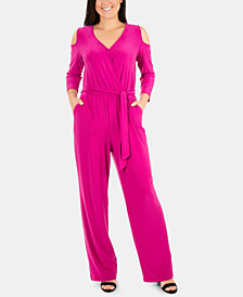 NY Collection Petite Cold-Shoulder Jumpsuit