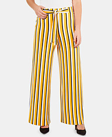NY Collection Petite Striped Tie-Front Pants