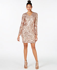 Marciano Nude Sequin Bodycon Dress