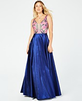 97edd34ab3f Say Yes to the Prom Juniors  Rhinestone Floral-Embroidered Gown