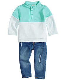 First Impressions Baby Boys Colorblocked Mock-Neck Pullover & Distress Jeans, Created for Macy's
