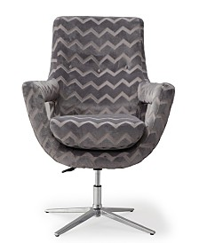 Fifi Grey Striped Swivel Chair