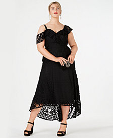 City Chic Trendy Plus Size Lace Cold-Shoulder Mermaid Dress
