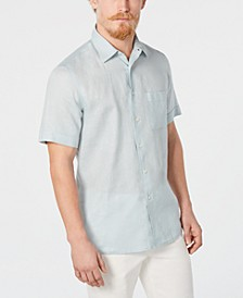 Men's Cross-Dye Short Sleeve Linen Shirt, Created for Macy's