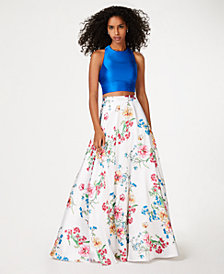 City Studios Juniors' 2-Pc. Satin & Floral-Print Gown