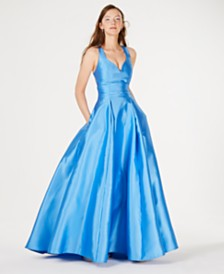 96048359293 B Darlin Juniors  Cage-Back Satin Ballgown