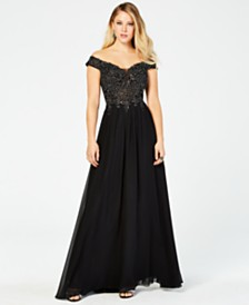 Blondie Nites Juniors' Off-Shoulder Rhinestone Gown