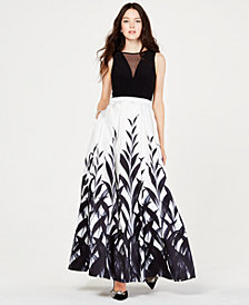 Morgan & Company Juniors' Black & White Printed Gown, Created for Macy's