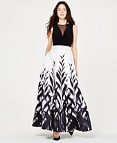 be7529545c Morgan   Company Juniors  Black   White Printed Gown