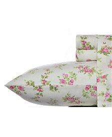 Laura Ashley Core Audrey Medium Pink Queen Flannel Sheet Set