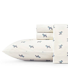 Laura Ashley Core Scottie Lt/Pastel Grey Twin Flannel Sheet Set