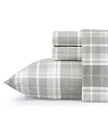 Mulholland Plaid Medium Grey Queen Flannel Sheet Set