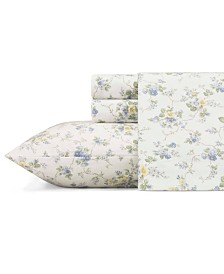 Laura Ashley Core Le Fleur Lt-Pastel Blue Queen Flannel Sheet Set