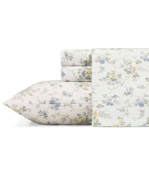 Laura Ashley Flannel Queen Sheet Set: Laura Ashley Le Fleur Lt-Pastel Blue Queen Flannel Sheet