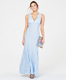 Juniors' Open-Back Glitter-Lace Gown