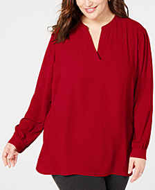 Anne Klein Plus Size Split-Neck Shirt