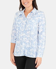 Printed Roll-Tab Button-Up Blouse