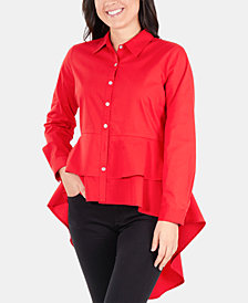 NY Collection High-Low Layered Peplum Top