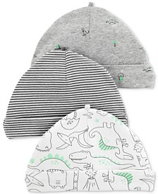 Carter's Baby Boys 3-Pack Dino-Print Beanie Hats