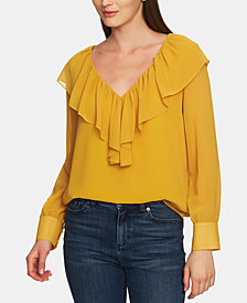 1.STATE Ruffled V-Neck Long-Sleeve Top