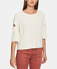 1.STATE Cotton Cutout Hardware Sweater