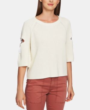 1.STATE Cotton Cutout Hardware Sweater in Antique White