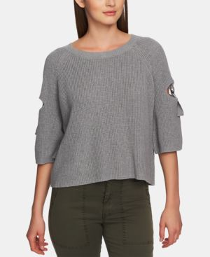 1.STATE Cotton Cutout Hardware Sweater in Light Heather Grey