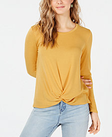 Style & Co Petite Twist-Front Draped Top