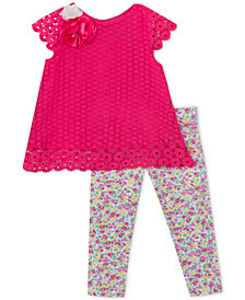 Rare Editions Baby Girls 2-Pc. Crochet Lace Tunic & Floral-Print Leggings Set