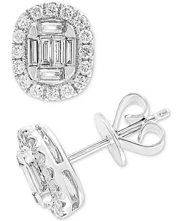 EFFY Collection - Diamond Baguette Halo Stud Earrings (1/2 ct. t.w.) in 14k White Gold