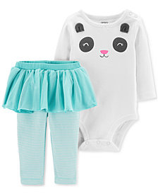 Carter's Baby Girls 2-Pc. Cotton Panda Bodysuit & Tutu Leggings Set