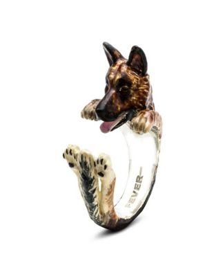 DOG FEVER German Shepherd Hug Ring In Sterling Silver And Enamel in Multi