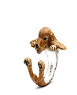 DOG FEVER Cocker Spaniel Hug Ring In Sterling Silver And Enamel in Brown
