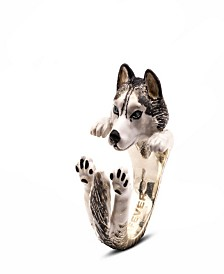 Siberian Husky Hug Ring in Sterling Silver and Enamel