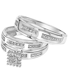 Diamond Accent Bridal Set Trio Collection for Men and Women in 14k White Gold