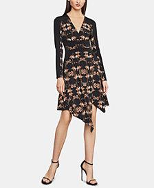BCBGMAXAZRIA Floral-Print Faux-Wrap Dress