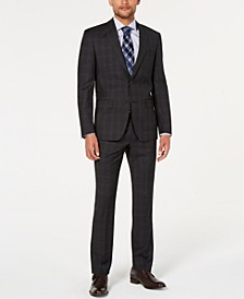 Men's Natural Stretch Modern-Fit Plaid Wool Suit Separates