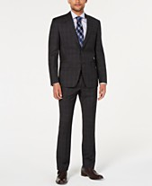 7d8920094 DKNY Men's Natural Stretch Modern-Fit Plaid Wool Suit Separates