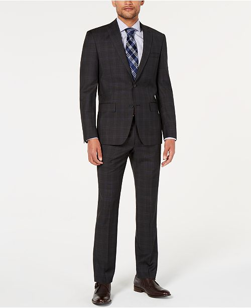 DKNY Men's Natural Stretch Modern-Fit Plaid Wool Suit Separates
