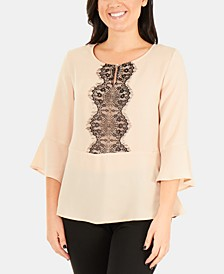 Lace-Panel 3/4-Sleeve Peplum Top