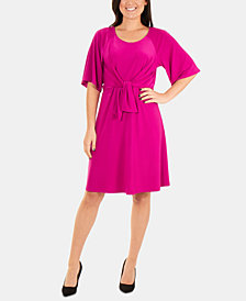 NY Collection Tie-Front Fit & Flare Dress